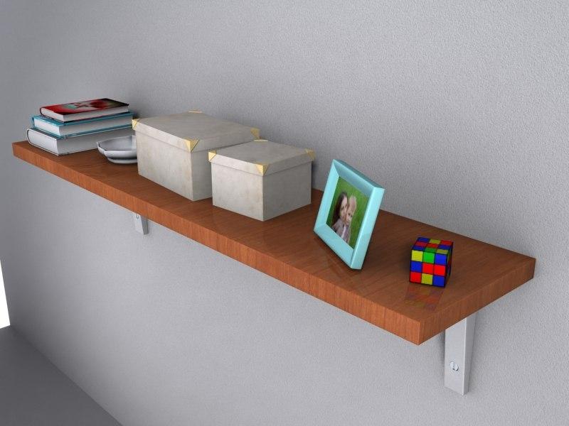 3d model wooden shelving