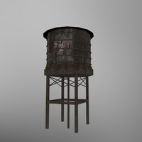 3d old water tank damaged model