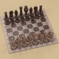 chessboard numbers letters 3d max