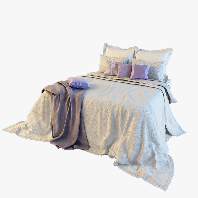 3d model of bedclothes bed
