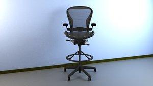 aeron work stool chair 3d max
