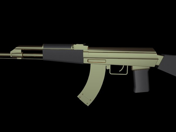 3d model gold ak-47 arms
