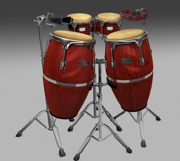 3d model of bongos congas tambourine cow