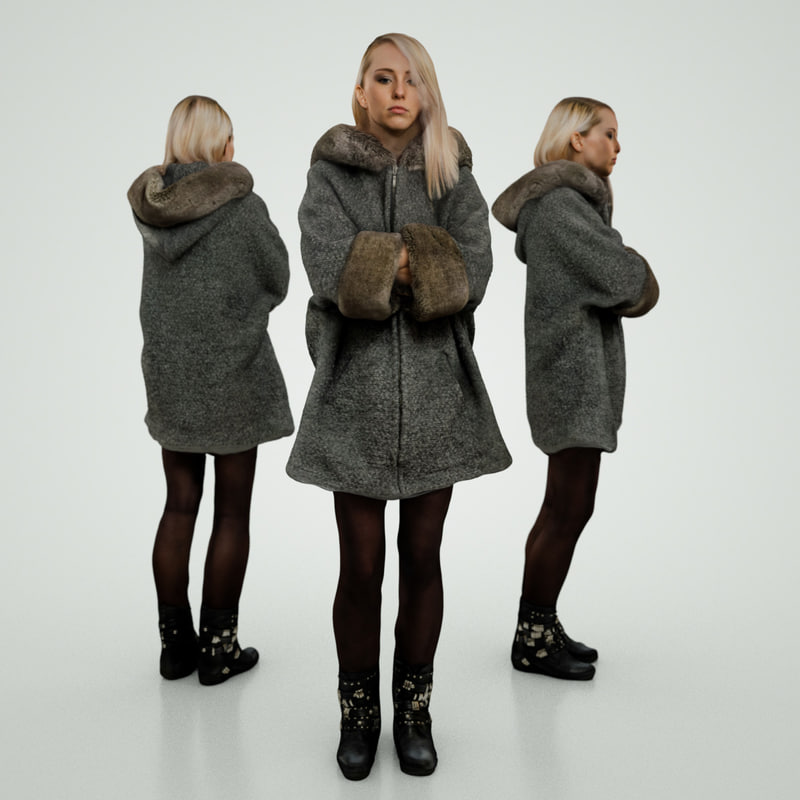 blond girl grey coat 3d x