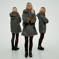 blond girl grey coat 3d x