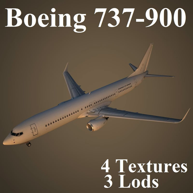 3d model boeing 737-900 low-poly