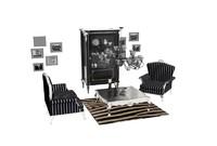 living room furniture interior set 3d model