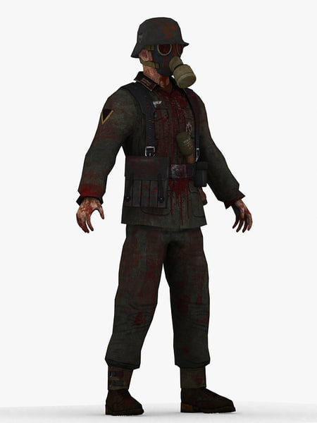 3d german zombie man model