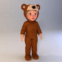 cartoon child boy bear 3d