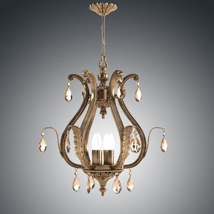3dsmax crystorama-dawson-three-light-chandelier ceiling lamp