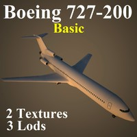 boeing 727-200 basic airliner 3d model