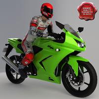 3ds max kawasaki ninja 250r motorcyclist