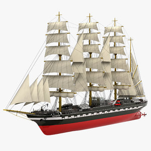 russian tall ship kruzenshtern 3d max