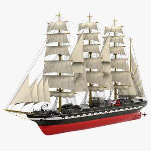 russian tall ship kruzenshtern 3d max