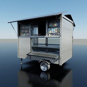 3d coffee food cart