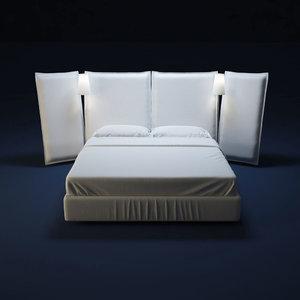 3d model flou bed angled