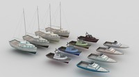 Low-Poly Boats Library