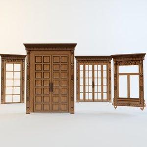 doors windows carved aprons 3d model