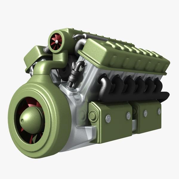 abstract v12 engine 3d obj