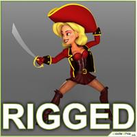 Cartoon Female Pirate Rigged