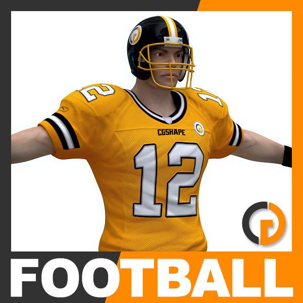 american football player ball 3d model