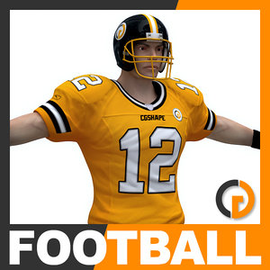 american football player ball 3d model
