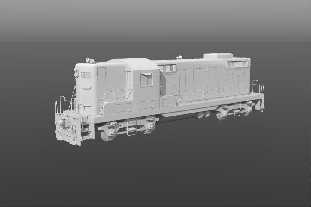 train gp9 locomotive 3d model
