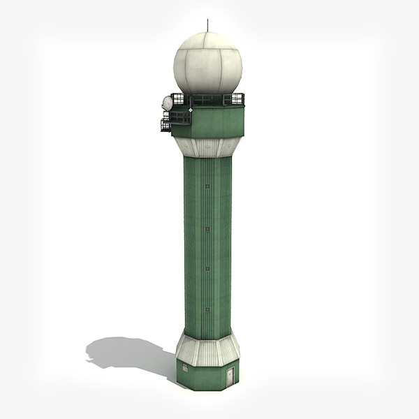 3d low-poly radar tower model