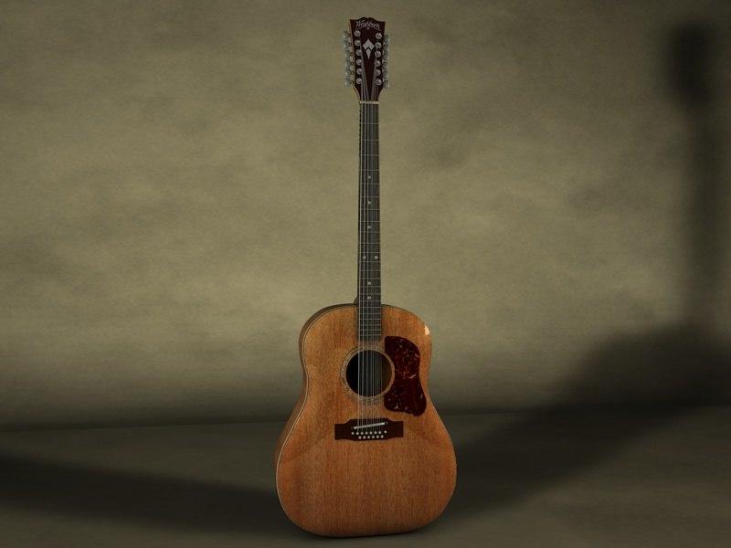 3d model washburn heritage acoustic guitar
