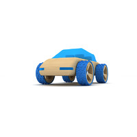 Blue wooden toy car