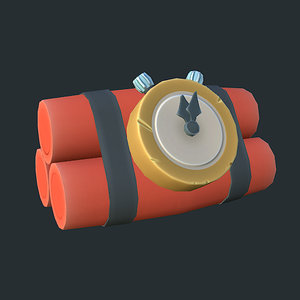3d model low-poly dynamite cartoon