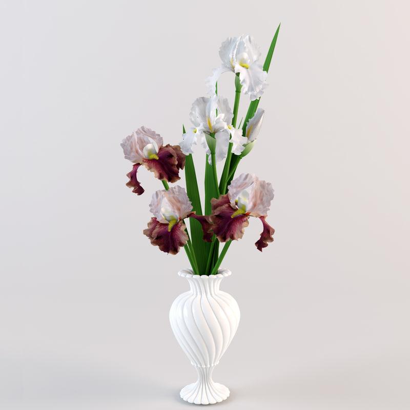 bouquet irises vase 3d model
