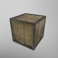 3d old dirty wooden box