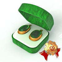 ear rings emerald 3d model