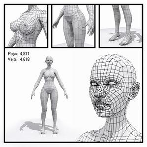 generic female base mesh human max