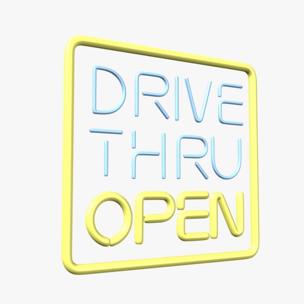 drive neon sign 3d lwo