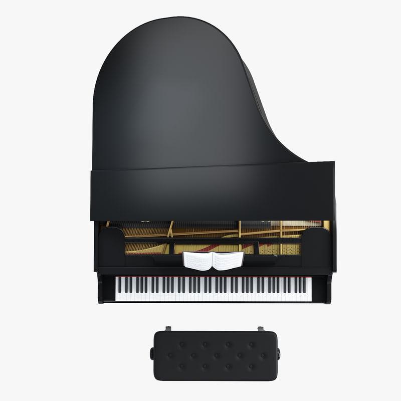 3d model concert grand piano