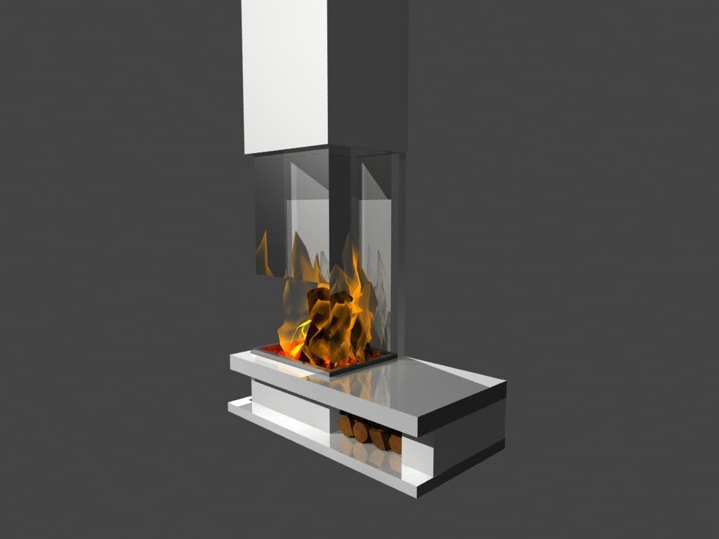 3d fireplace glass