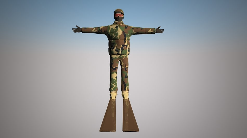 skier character 3d max