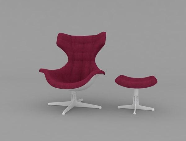 3d model poltrona frau armchair puff