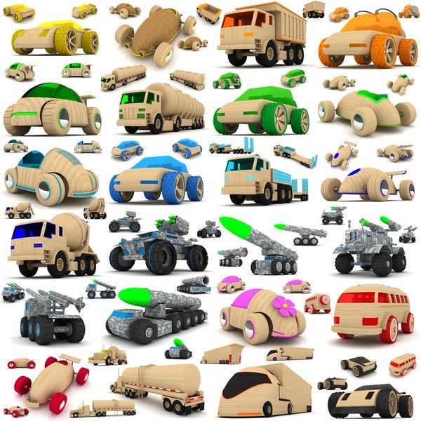 wooden toy cars trucks 3d max