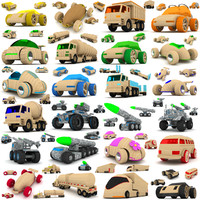 wooden toy cars trucks 3d max