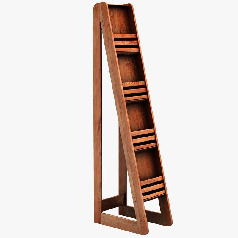3d model bamboo magazine floor display