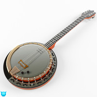 banjo instrument string 3d model