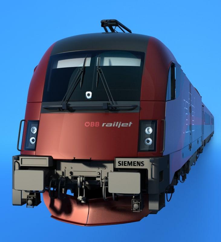 3d model railjet siemens taurus train