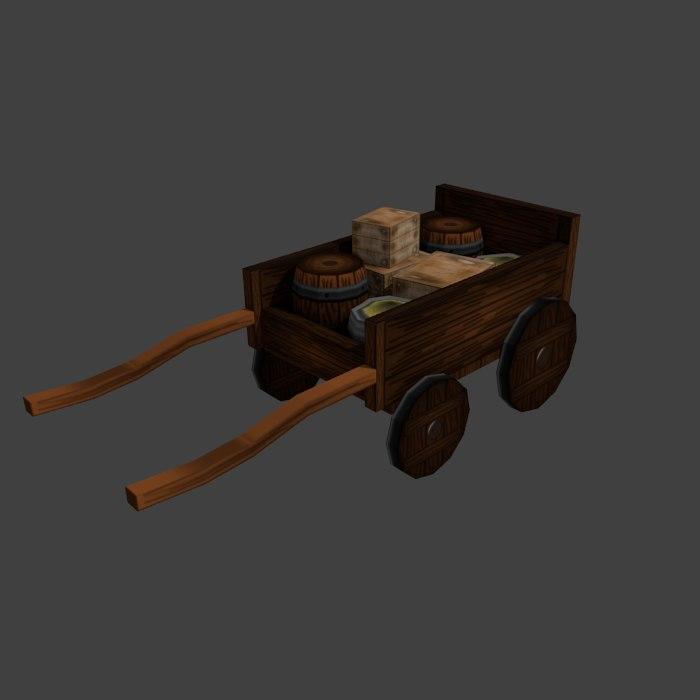 medieval cart 3d obj