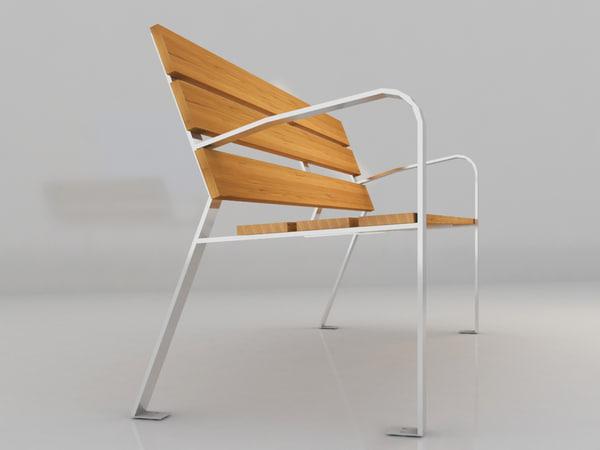 3d 3ds urban bench
