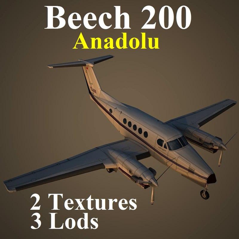 3d beech 200 aircraft model