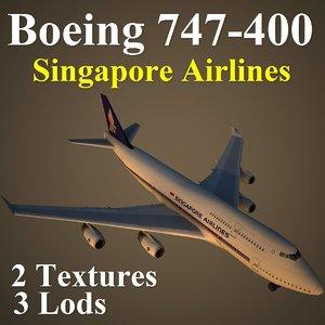 3d boeing 747-400 sia model