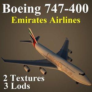 boeing 747-400 uae 3d max